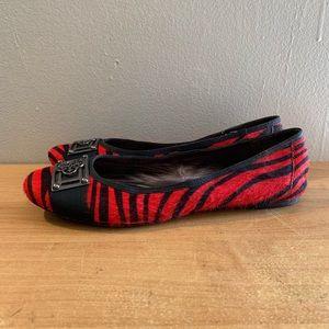 Isola black n red zebra print flats